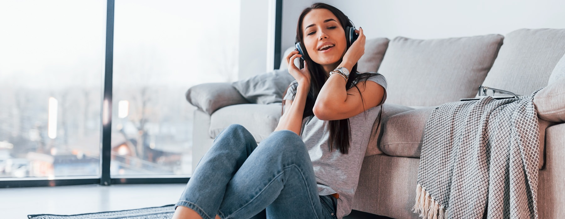 Lifestyle of woman listening to music